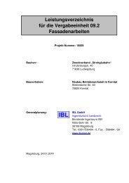 Leistungsverzeichnis für die Vergabeeinheit 09.2 Fassadenarbeiten