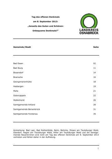 Liste Gedenkstätten im Landkreis Osnabrück