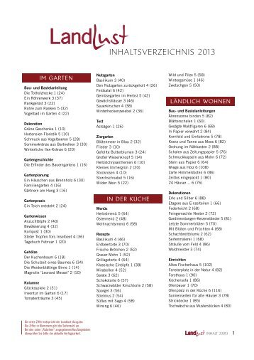 InhaltsverzeIchnIs 2013 - Landlust