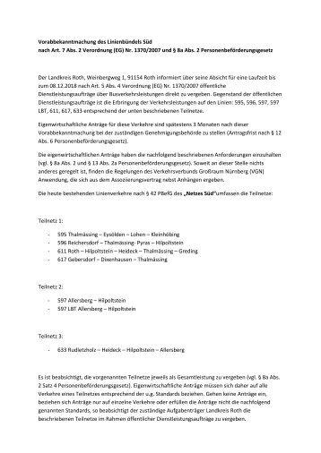 Vorabbekanntmachung des Linienbündels Süd ... - Landratsamt Roth