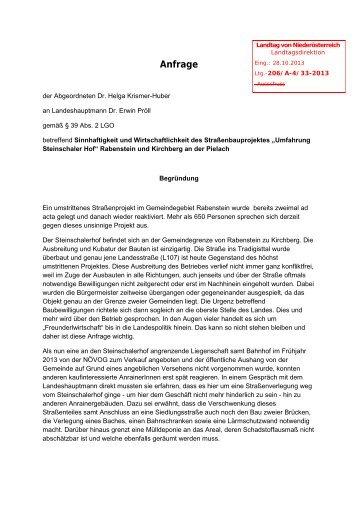Anfrage - beim Niederösterreichischen Landtag