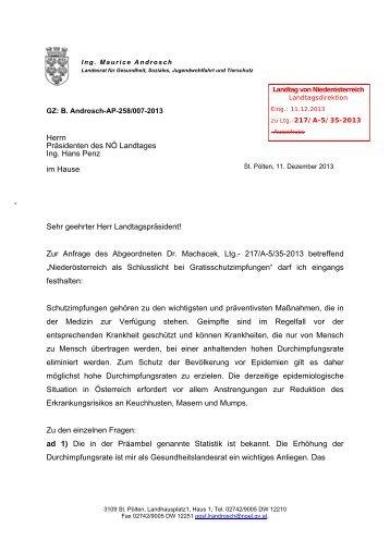 Beantwortung - beim Niederösterreichischen Landtag