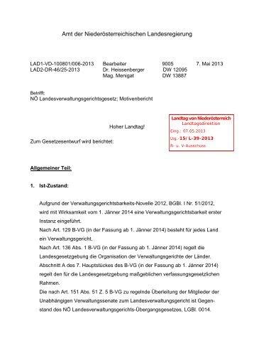Motivenbericht - beim Niederösterreichischen Landtag