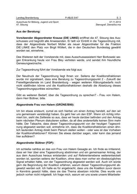 Landtag Brandenburg P-ABJS 5/47 Protokoll