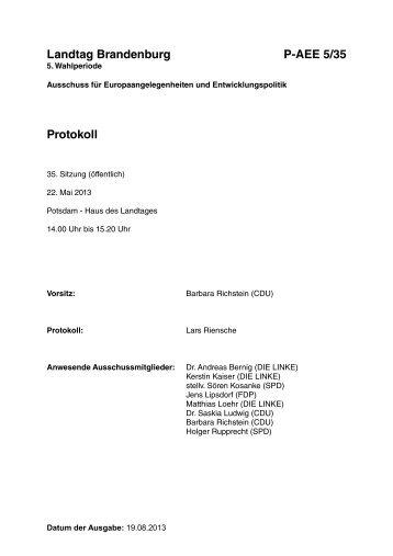 35. Sitzung des Ausschusses für Europaangelegenheiten und ...