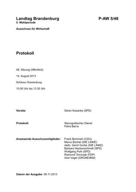 Sitzung des Ausschusses für Wirtschaft am 14.08.2013 [ PDF , 2.1 MB]