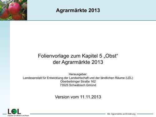 Folien Obst - Infodienst - Landwirtschaft, Ernährung, Ländlicher Raum