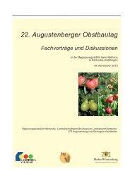 22. Augustenberger Obstbautag Fachvorträge und Diskussionen