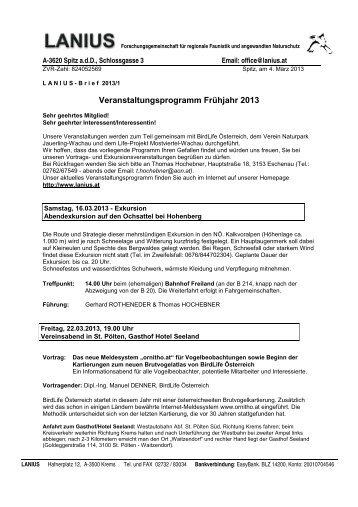 Veranstaltungsprogramm Frühjahr 2013 - LANIUS