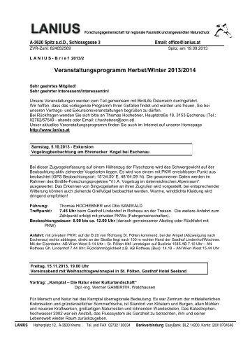 Veranstaltungsprogramm Herbst/Winter 2013/2014 - LANIUS