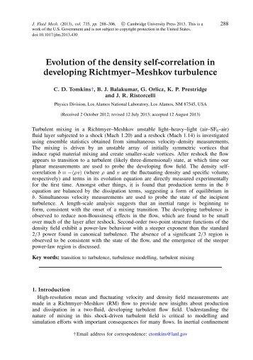 Tomkins, Balakumar, Orlicz, Prestridge, Ristorcelli. 2013. Evolution ...