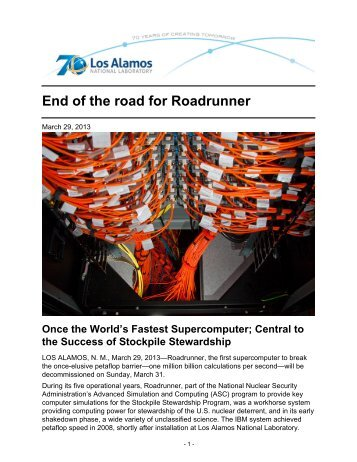 End of the road for Roadrunner - Los Alamos National Laboratory