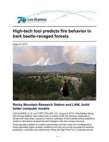 High-tech tool predicts fire behavior in bark beetle-ravaged forests