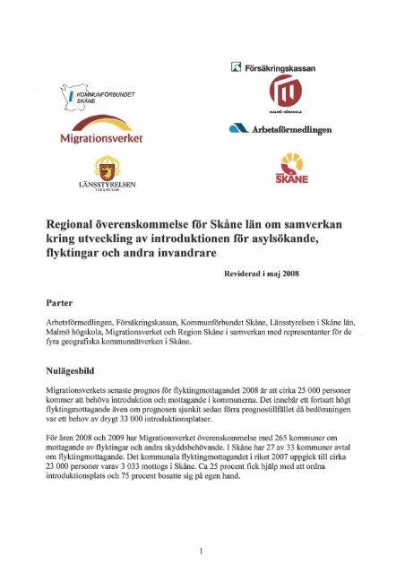 Regional överenskommelse för Skåne lan om ... - Länsstyrelserna
