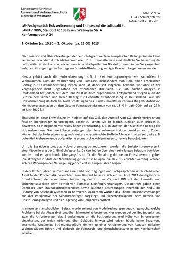 LAI-Fachgespräch Holzverbrennung und Einfluss auf ... - LANUV NRW