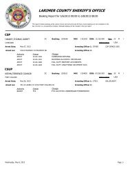 Larimer county sheriffs office booking report