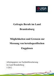 Gefragte Berufe im Land Brandenburg Möglichkeiten und Grenzen ...