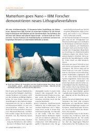 Matterhorn goes Nano – IBM Forscher ... - Laser Magazin
