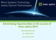 Werbemöglichkeiten Teil 1 - Laser Optics Berlin