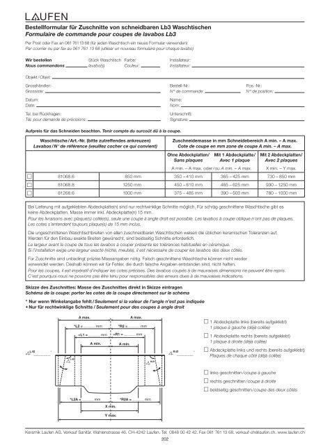 Bestellformular für Zuschnitte von schneidbaren Lb3 ... - Laufen