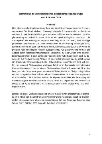 Richtlinie für die Durchführung einer elektronischen Plagiatsprüfung