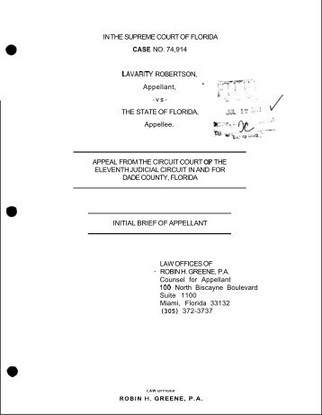 Initial Brief of Appellant - Florida State University College of Law