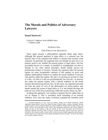 The Morals and Politics of Adversary Lawyers - Florida State ...