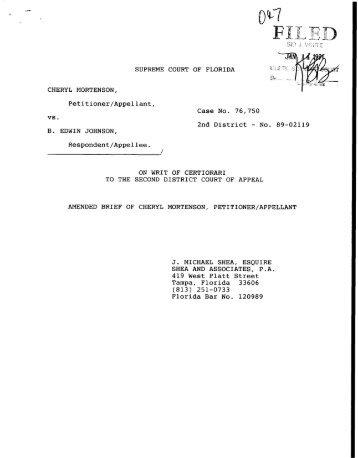 Amended Brief of Cheryl Mortenson, Petitioner/Appellant