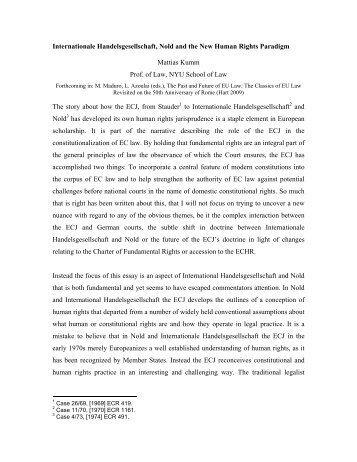 Internationale Handelsgesellschaft, Nold and the New Human ...