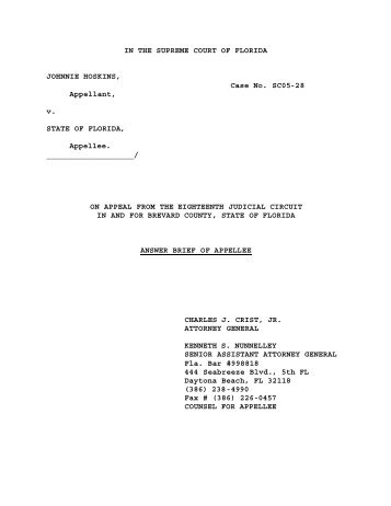 Answer Brief of Appellee - Florida State University College of Law