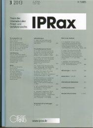 Praxis des Internationalen Privat- und Verfahrensrechts www.iprax.de
