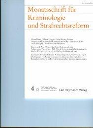 Monatsschrift für Kriminologie und Strafrechtsreform
