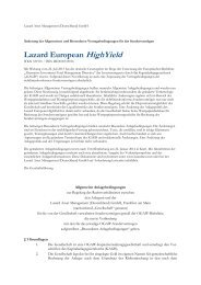 Change of contractual terms for Lazard European HighYield