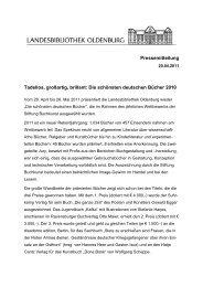 Die schönsten deutschen Bücher 2010 - der Landesbibliothek ...
