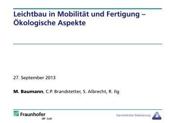 Leichtbau in Mobilität und Fertigung – Ökologische ... - LBP GaBi