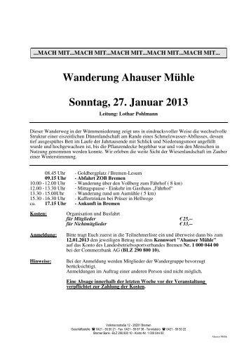 Wanderung Ahauser Mühle - Landesbetriebssportverband Bremen eV