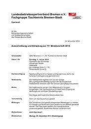 Ausschreibung - Landesbetriebssportverband Bremen eV