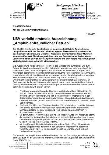 """LBV verleiht erstmals Auszeichnung """"Amphibienfreundlicher Betrieb"""""""
