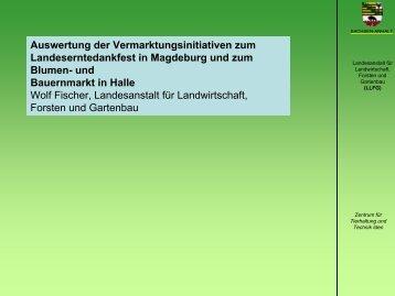 Auswertung der Vermarktungsinitiativen zum Landeserntedankfest ...