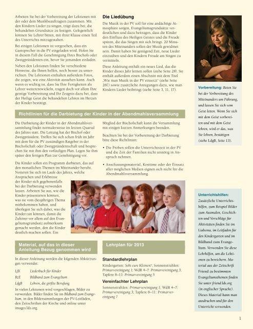 Anleitung für das Miteinander 2013