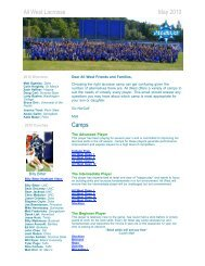 All West Lacrosse May 2010 Camps