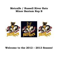 Metcalfe / Russell River Rats Minor Bantam Rep B Welcome to the ...