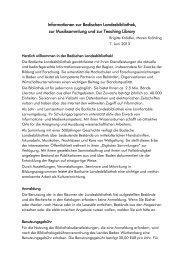 Informationen zur Badischen Landesbibliothek, zur ... - Uni Karlsruhe