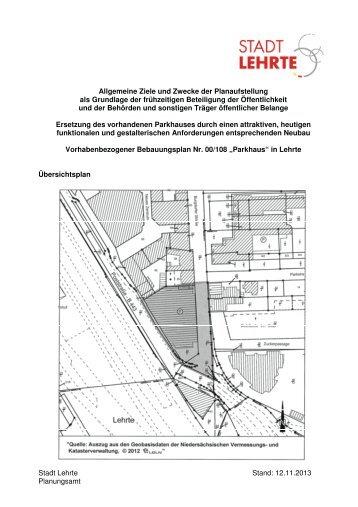 Stadt Lehrte Stand: 12.11.2013 Planungsamt Allgemeine Ziele und ...