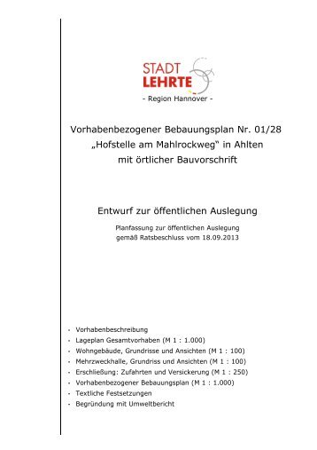 Vorhabenbezogener Bebauungsplan Nr. 01/28 ... - Stadt Lehrte