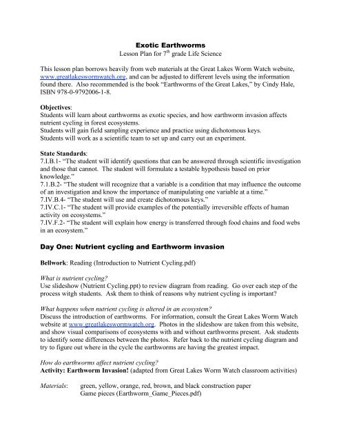 Exotic Earthworms Lesson Plan For 7th Grade Life Science
