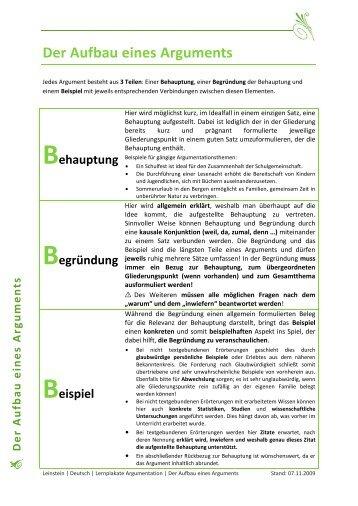 Der Aufbau eines Arguments - Leinstein.de