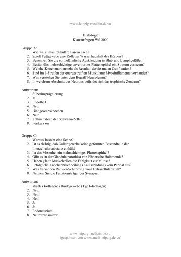 Histologie-Klausur WS 2000 - Leipzig-Medizin.de