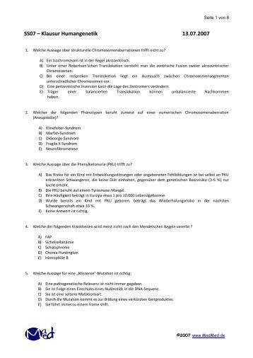 SS07 – Klausur Humangenetik 13.07.2007 - Leipzig-Medizin.de