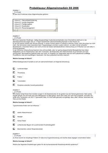 Probeklausur Allgemeinmedizin SS 2008 - Leipzig-Medizin.de
